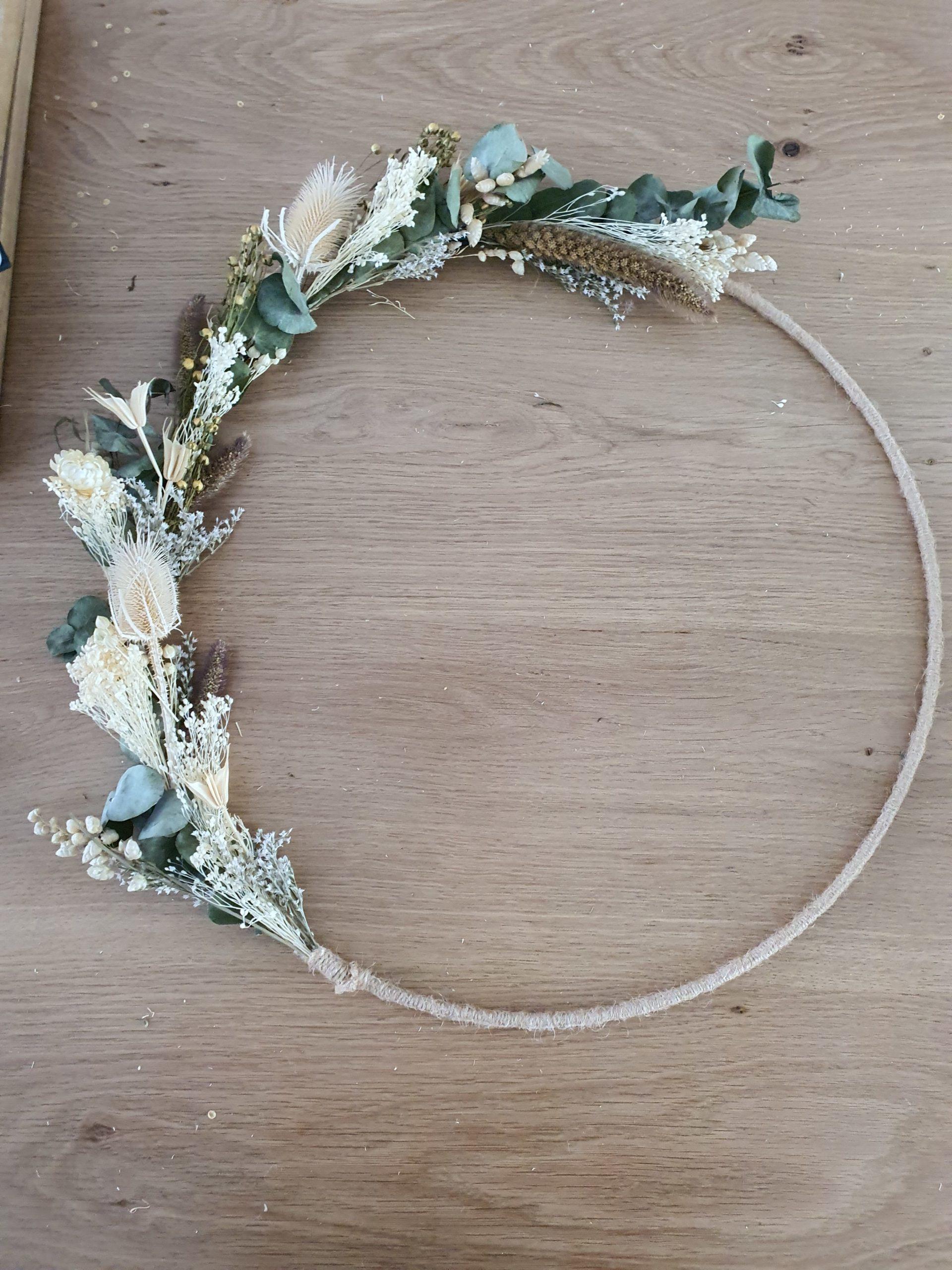 Couronne de fleurs séchées 40cm
