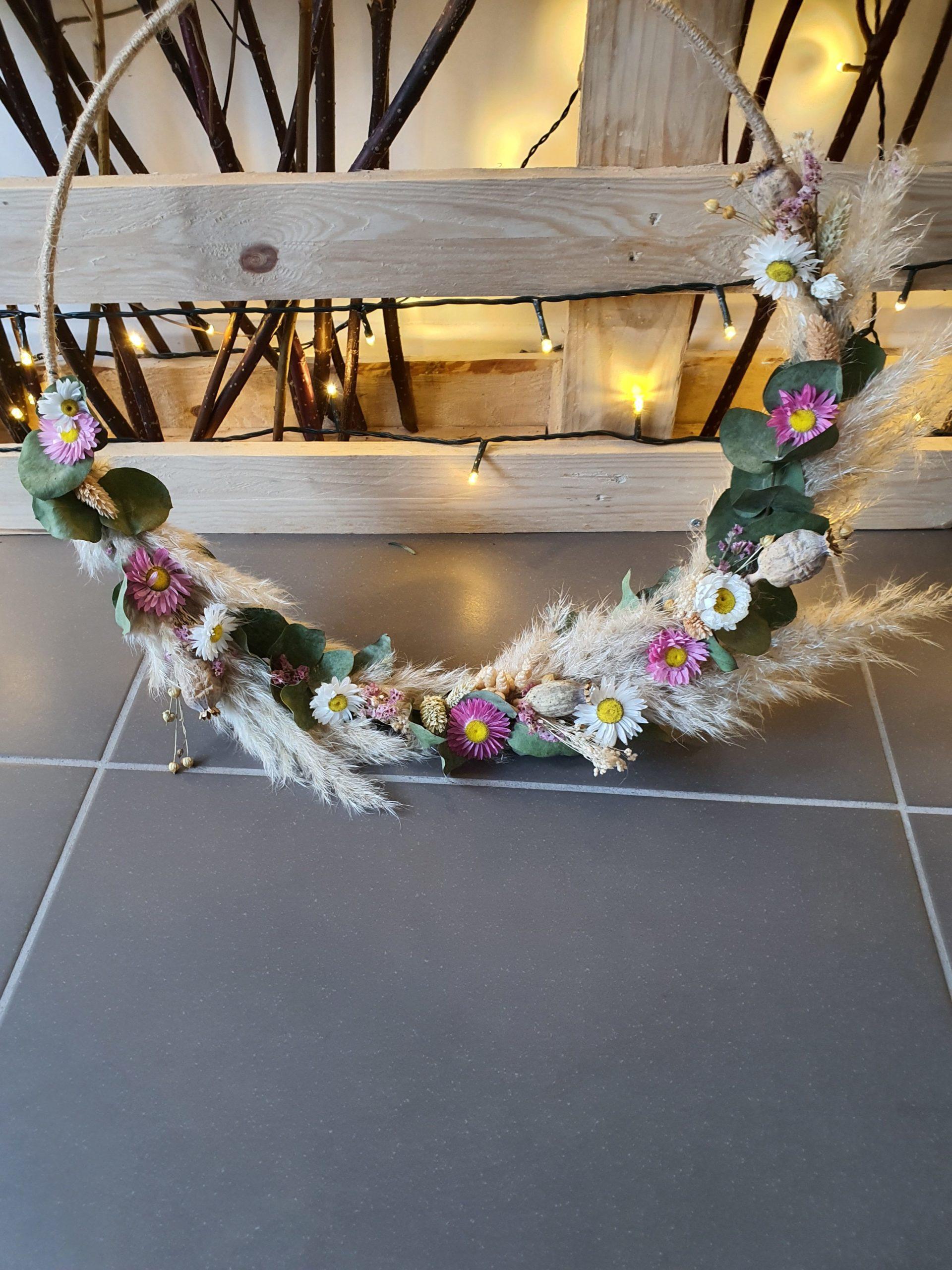 Couronne de fleurs séchées 60cm